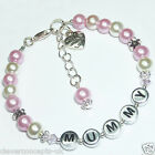 Mothers Days Mam Mummy Mum Gran Nan Love Heart Personalised Charm Bracelet Gift