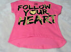Girl's Follow Your Heart Tees S M and L Pink W Black & Yellow Graphics Glitter
