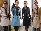 Fashion Women's Double-- breasted Trench Jacket /Coat + (scarf) 4 colors