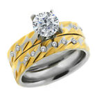 2.30 Ct Two Tones Cubic Zirconia CZ 2 Piece Engagement Wedding Ring and Band Set