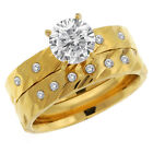 2.30 Ct Gold Tone Cubic Zirconia CZ 2 Piece Engagement Wedding Ring and Band Set