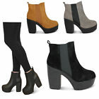 womens new block high heel ladies chelsea platform ankle shoes boots size uk 3-8