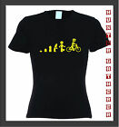 EVOLUTION OF THE CYCLING LEGOMAN WOMENS T-SHIRT. SIZE XS-XXXL, LOTS OF COLOURS