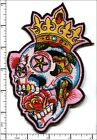 Embroidered Iron/Sew on patch Colorful Skull with Crown  10x15.5cm AP021T