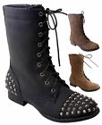 NEW Womens Punk Metal Studded Lace Up Military Combat Low Heel Boot Sz 5.5 to 11
