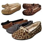 New Womens Stitch Warm Soft Fur Lining Bow Moccasin Oxford Loafer Slipper Shoes