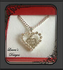 Love You Diamanté Heart Pendant Necklace Valentines Day Gift Birthday Xmas New