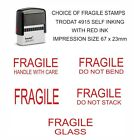 FRAGILE RUBBER STAMP, SELF-INKING WITH RED INK TRODAT 4912 CHOICE OF WORDING
