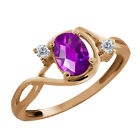 0.81 Ct Checkerboard Purple Amethyst and Diamond Gold Plated Silver Ring
