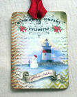 Hang Tags  LIGHTHOUSE SNOWMAN CHRISTMAS TAGS or MAGNET #516  Gift Tags