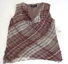 NWT JONES NEW YORK COWL NECK SLEEVELESS TOP PURPLE GRAY MSRP 79.00