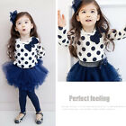 Baby Toddler Girl Kids Clothes 2Piece suit Dress Top+Leggings SKirt S0-5Y Outfit