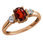 1.10 Ct Oval Red Garnet and Diamond Gold Plated Sterling Silver Ring