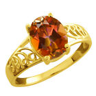 2.30 Ct Oval Ecstasy Mystic Topaz Gold Plated Sterling Silver Ring
