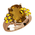 4.80 Ct Champagne Quartz Yellow Sapphire Rose Gold Plated Sterling Silver Ring