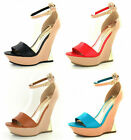 LADIES PEEP TOE WEDGE SHOES (F10113)