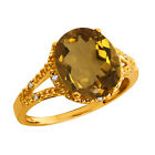 3.55 Ct Oval Whiskey Quartz and Topaz Gold Plated Sterling Silver Ring