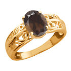 1.20 Ct Oval Brown Smoky Quartz Gold Plated 925 Silver Ring
