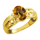 1.15 Ct Checkerboard Champagne Quartz Gold Plated Sterling Silver Ring