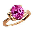 3.26 Ct Oval Pink Created Sapphire Diamond Rose Gold Plated 925 Silver Ring