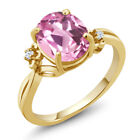 2.94 Ct Light Pink Created Sapphire Gold Plated 925 Silver Ring