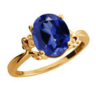 3.38 Ct Simulated Sapphire Garnet Gold Plated 925 Silver Ring