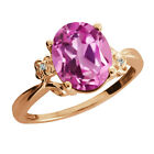 2.94 Ct Oval Light Pink Created Sapphire Rose Gold Plated 925 Silver Ring