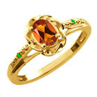 0.41 Ct Oval Orange Red Madeira Citrine Green Tsavorite Gold Plated Silver Ring