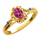 0.52 Ct Oval Pink Tourmaline Blue Sapphire Gold Plated Sterling Silver Ring