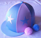 RIDING HAT COVER - BABY BLUE & BABY PINK WITH ALTERNATE STARS