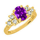 1.30 CT 7x5mm Oval Cut Amethyst Yellow Gold Ring New
