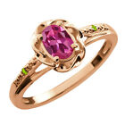 0.51 Ct Oval Pink Tourmaline Green Peridot Rose Gold Plated Sterling Silver Ring