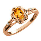 0.41 Ct Oval Yellow Citrine White Topaz Rose Gold Plated Sterling Silver Ring