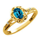 0.57 Ct Oval London Blue Topaz Sapphire Gold Plated Sterling Silver Ring