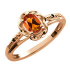 0.41 Ct Oval Orange Red Madeira Citrine Black Diamond Gold Plated Silver Ring