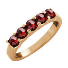 1.25 Ct Round/checkerboard Garnet Gold Plated 925 Silver Ring