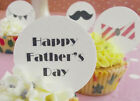 Fathers Day Cupcake Toppers - Happy Father's Day - Wafer Icing - Moustache Icons