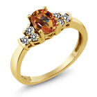 0.75 Ct Ecstasy Mystic Topaz White Diamond 925 Yellow Gold Plated Silver Ring