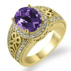 2.98 Ct Oval Purple Amethyst Diamond Gold Plated Sterling Silver Ring