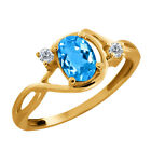 1.01 Ct Checkerboard Swiss Blue Topaz and Diamond Gold Plated Silver Ring