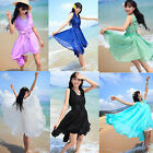 Girls Summer Beach Chiffon Bowknot Fairy Style Flounced Sleeveless Dress+ Belt