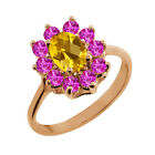 1.20 Ct Checkerboard Citrine Pink Sapphire Gold Plated Sterling Silver Ring