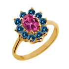 1.18 Ct Oval Pink Tourmaline Blue Diamond Yellow Gold Plated Silver Ring