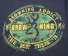 Browning T-Shirt Brown Long Sleeve  Buckmark Logo Rifle Green Gold Oval New NWT