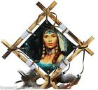 native wooden canvas wall hanging picture lady women wolf wolves eagle decor art