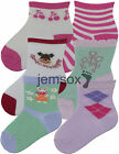 5 Pairs Baby Girls Jacquard Cotton Ankle Socks UK Made - Various Designs