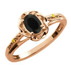 0.40 Ct Oval Black Onyx Canary Diamond Rose Gold Plated Sterling Silver Ring