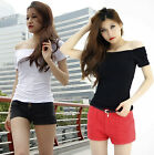 Women Sexy Boat Neck Off Shoulder Short Sleeve Tight Stretch Tops T-shirts T996#