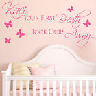 Baby Wall Sticker Quote - Personalised Your First Breath Girls Child Nursery Art
