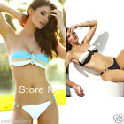 Fashion Womens Lady Strapless Bandeau Bikini Swimwear Striped Padded Tops Bras